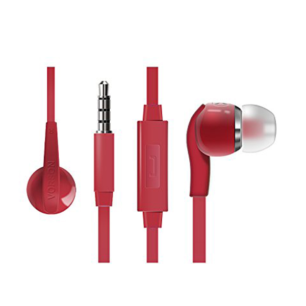 Vorson 3.5mm Flat Cable HiFi Earphone With Volume Control And Mic - Red