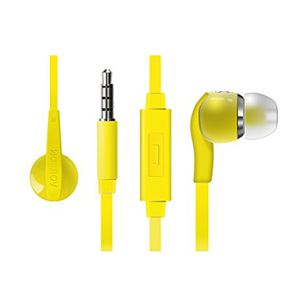 Vorson 3.5mm Flat Cable HiFi Earphone With Volume Control And Mic - Yellow