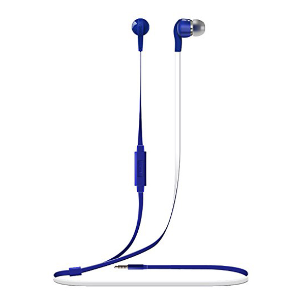 Vorson 3.5mm Flat Cable HiFi Earphone With Volume Control And Mic - Blue