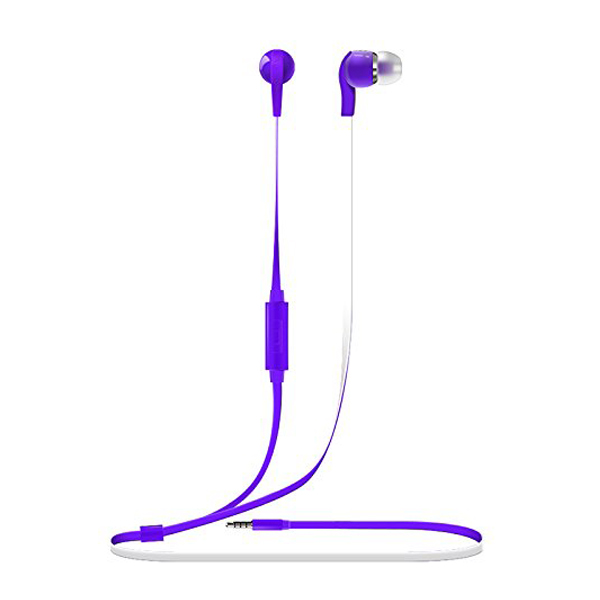 Vorson 3.5mm Flat Cable HiFi Earphone With Volume Control And Mic - Purple