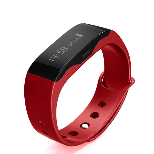Wireless Bluetooth Smart Fitness Wristband Watch - Red