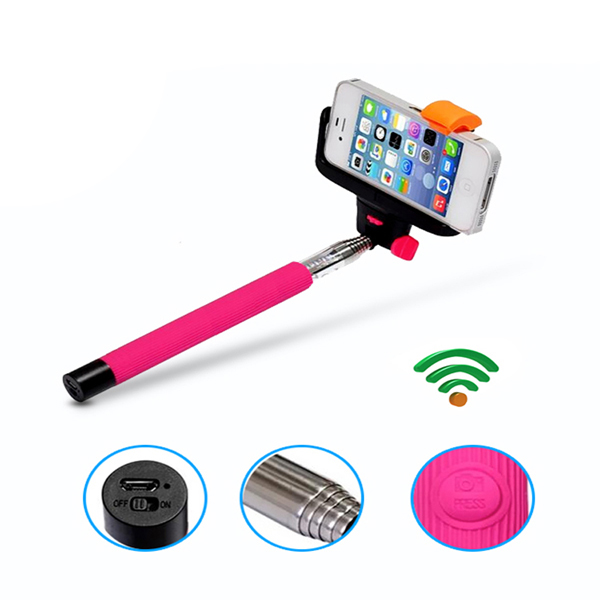 Wireless Monopod With Build In Bluetooth Shutter for IOS and Android - Pink