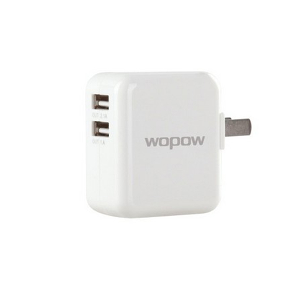 WOPOW 2.1A Dual USB Plug US Adapter - White