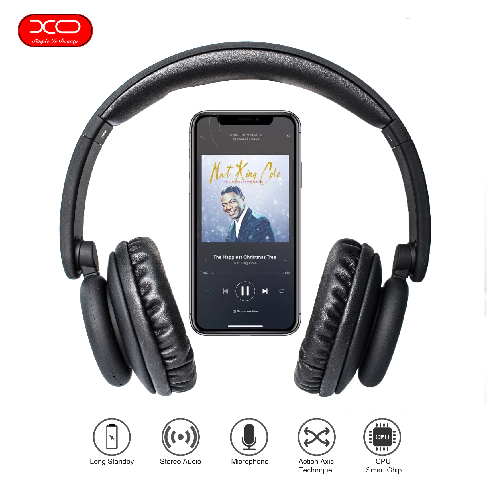 XO Foldable Bluetooth Heaphone - Black