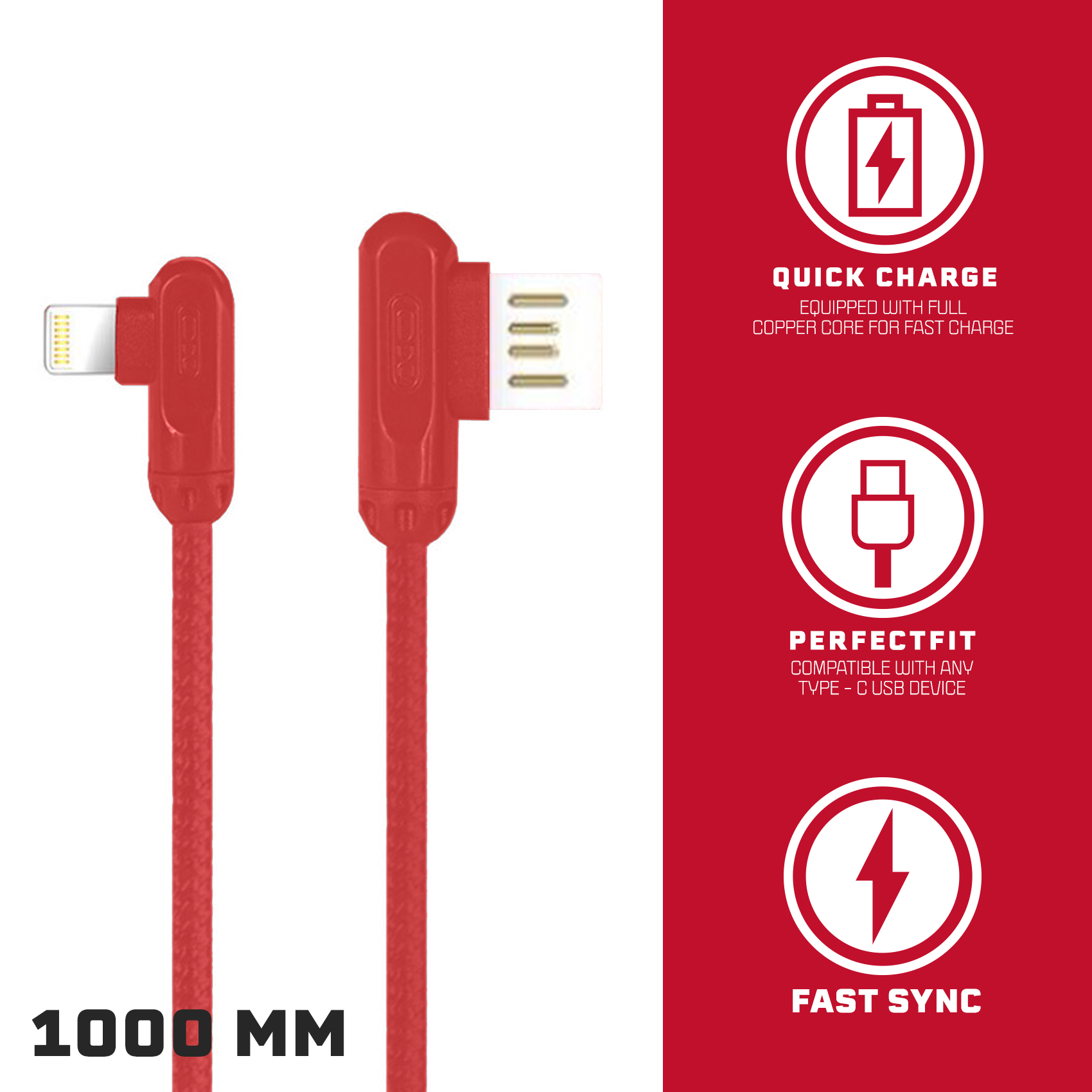 XO NB28 1 Meter 2.4A  Lightning Charging And  Data Cable – Red