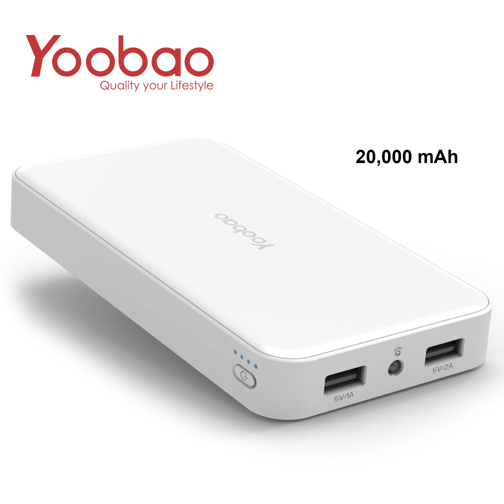Yoobao Dual USB Port Powerbank 20000mAh - White