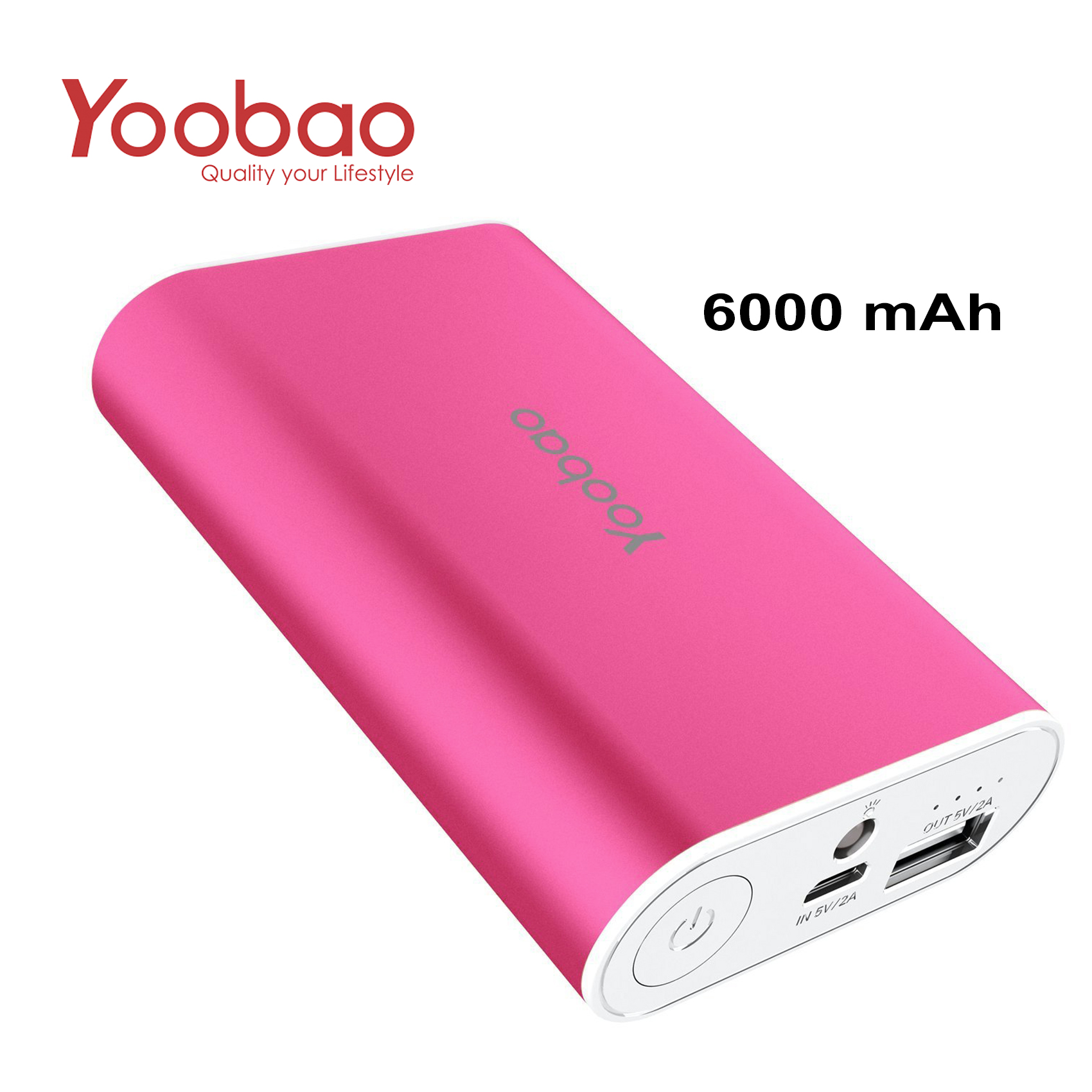 YOOBAO Intelligent Power Bank S3 6000mAh Portable Charger - Pink