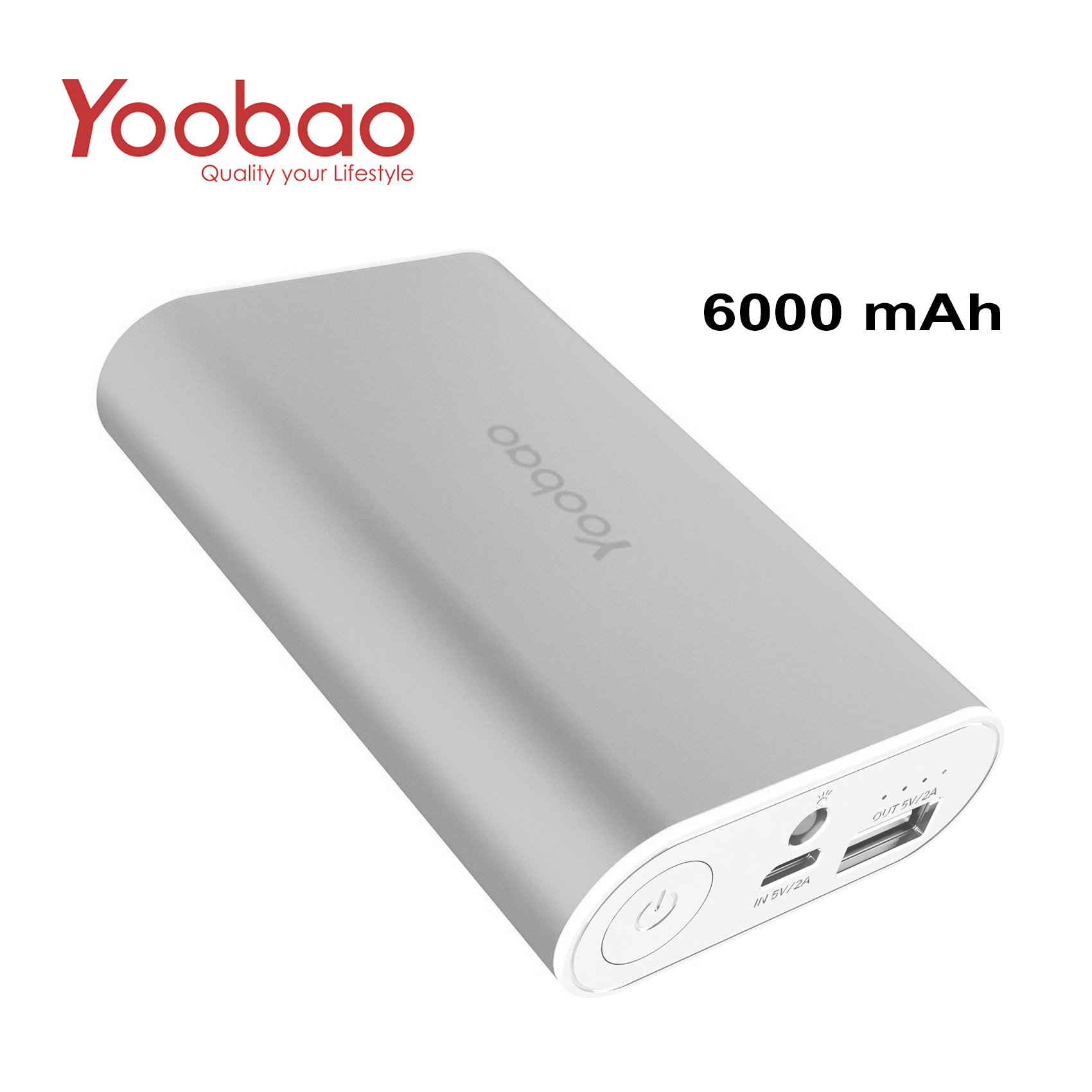 YOOBAO Intelligent Power Bank S3 6000mAh Portable Charger - Silver