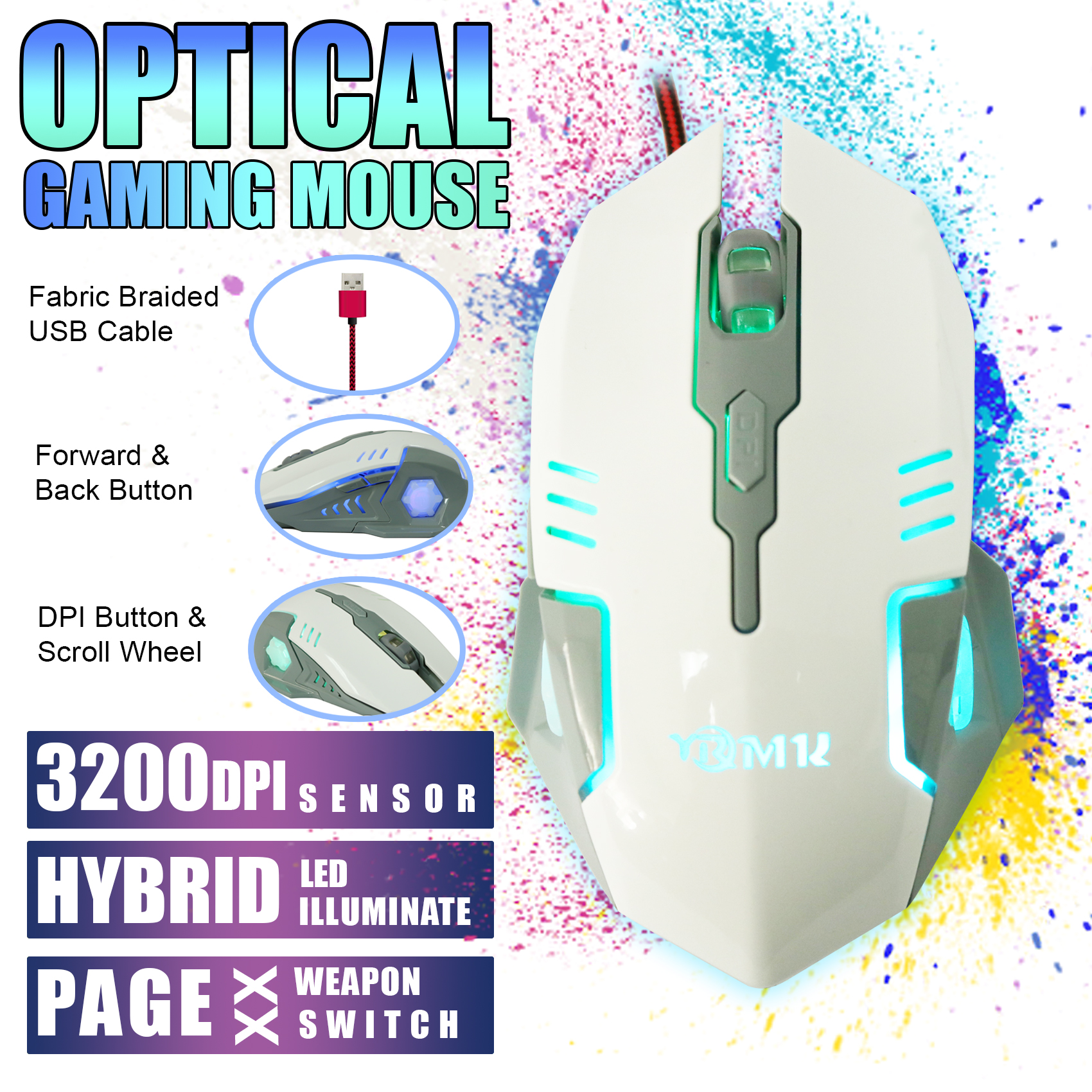 6D Optical Gaming Mouse 1.5 Meters Fabric Braided Cable 3200 DPI - White