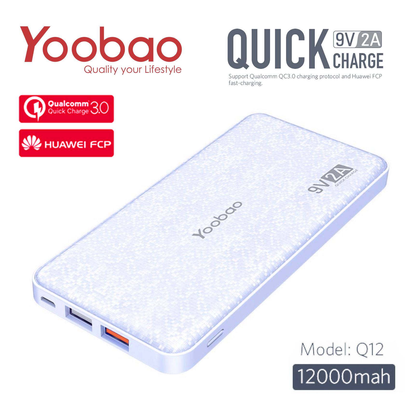 Yoobao Q12 12000 mAh Qualcomm 3.0 Portable Quick Charge Power Bank - Blue