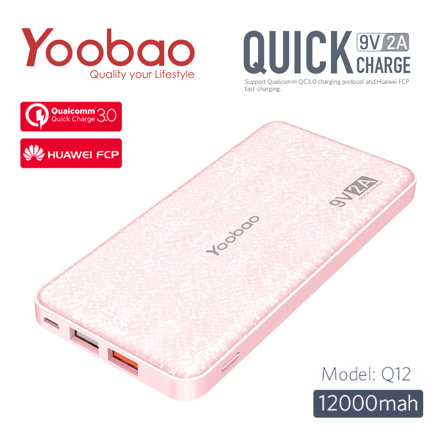 Yoobao Q12 12000 mAh Qualcomm 3.0 Portable Quick Charge Power Bank - Pink