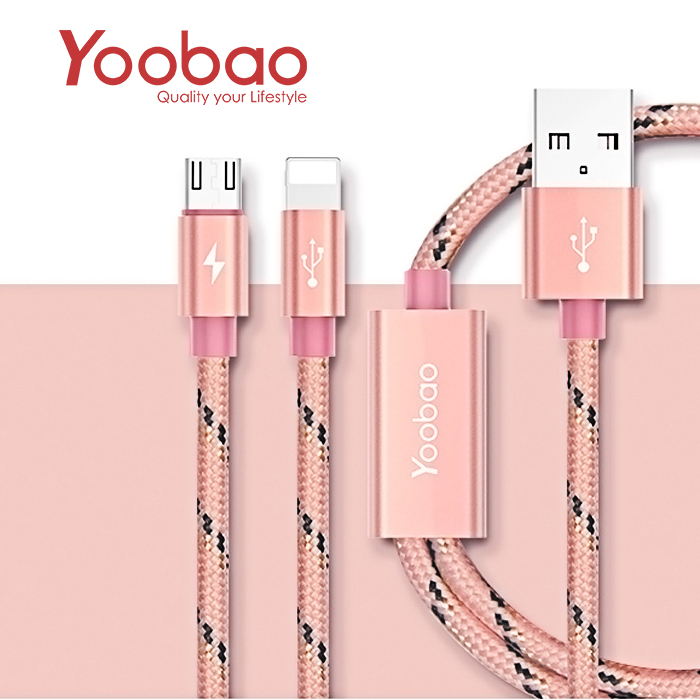 Yoobao YB452 Charging and Data Transfer 2 in 1 USB Cable - Pink