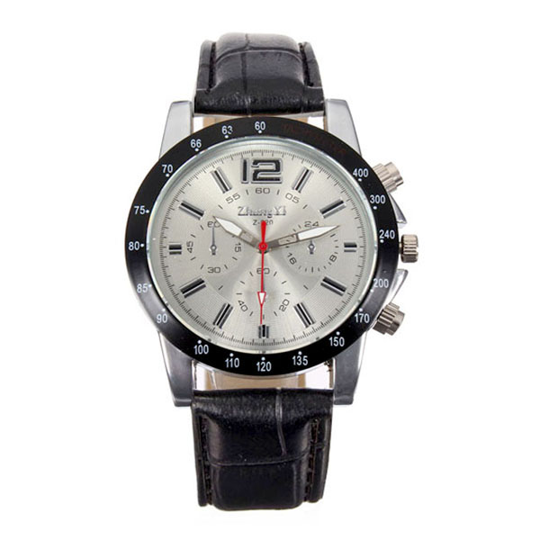 Men Casual Leather Watch - Black/White