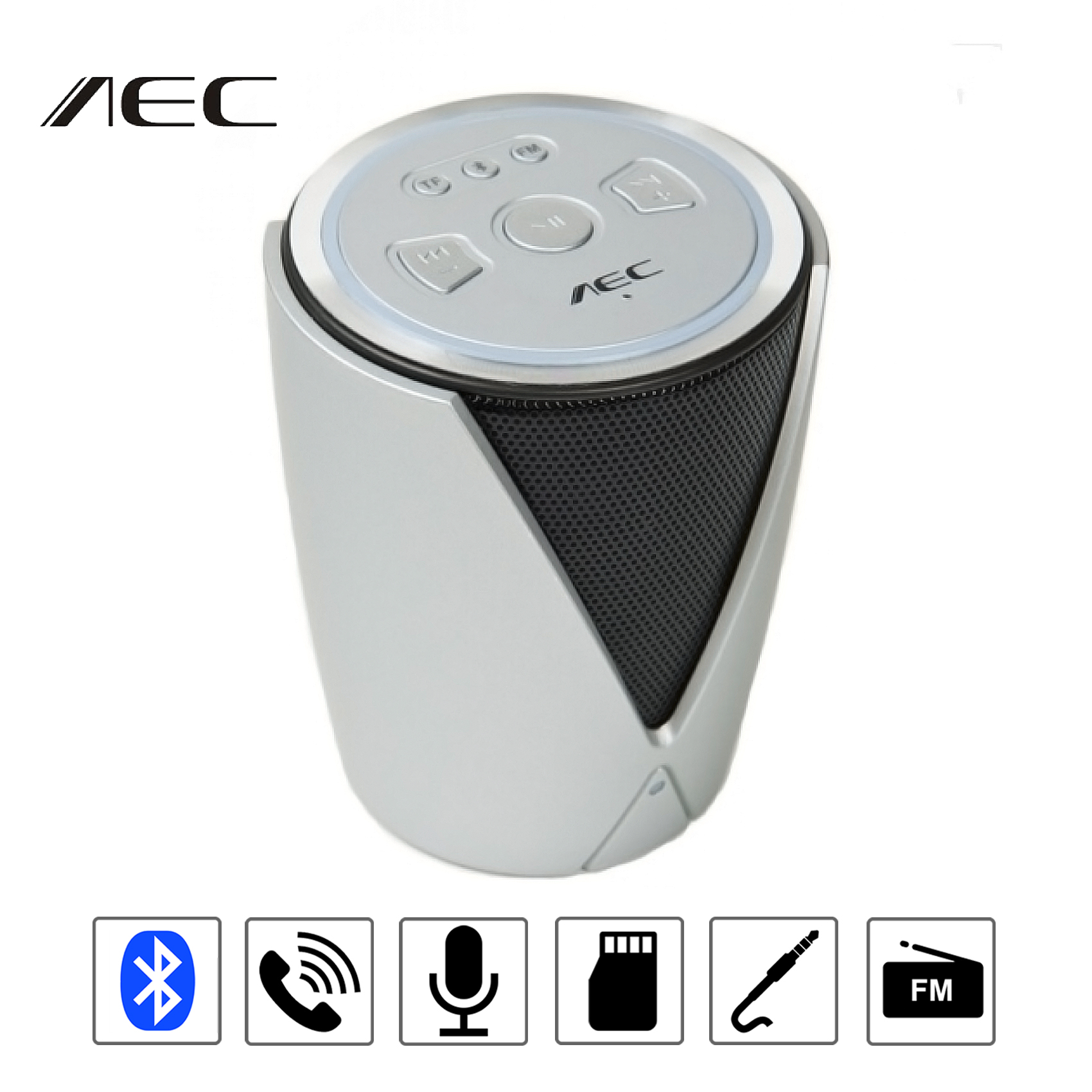 Multifunction Bluetooth Speaker With FM Radio And MP3 Player - Silver