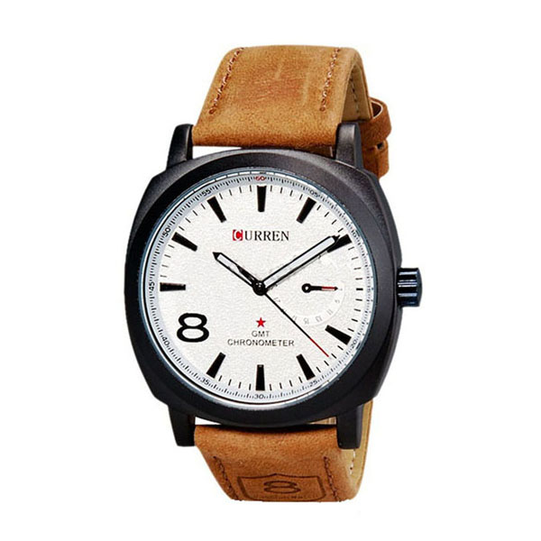 Men Fashion Leather Watch - Brown/White