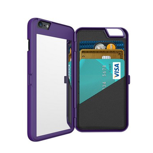 iFrogz Charisma Case for iPhone 6 Plus with Mirror and Wallet – Purple