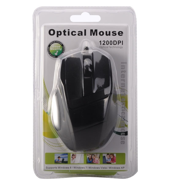 USB Wired 1200DPI Optical Mouse - Black