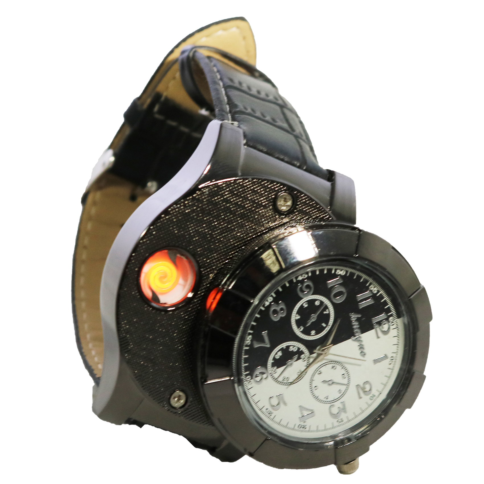 Rechargeable Leather Watch With Cigarette Lighter  - Black