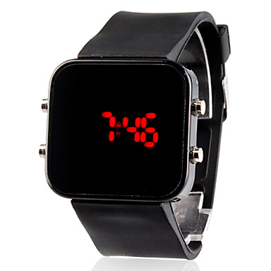 Digital Square LED Mirror  Watch Black