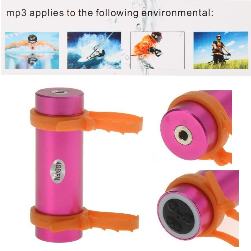 Waterproof MP3 Player with FM And 4GB Memory For Swimming - Pink